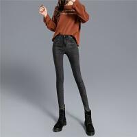 Lee Cooper新款高腰修身百搭显瘦显高紧身小脚直筒裤牛仔裤女