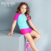 范德安儿童泳衣 女孩连体平角长袖防晒女童游泳衣 中大童可爱泳装