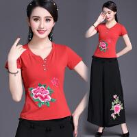 中国风女装上衣 夏装新款 民族风刺绣花短袖t恤女 大码打底衫