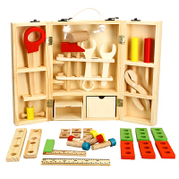 螺母拼装工具 男孩过家家玩具 木制儿童仿真维修工具箱套装