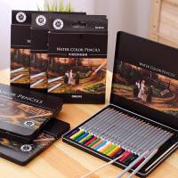 得力水溶性彩色铅笔 72色美术绘画涂鸦涂色铁盒装填色水溶彩铅