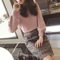 2018大码女装胖mm秋冬毛呢裙子新款针织毛衣洋气显瘦套装时髦减龄