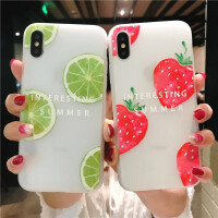 iPhone6s手机壳苹果7浮雕壳6splus保护套8p磨砂防滑软壳夏季水果x可爱小清新男女情侣全包边防摔创意柠檬草莓