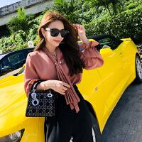 春装新款时尚女装名媛优雅纯色皱褶木耳雪纺长袖衬衫上衣