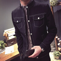 新款男装加小码XS矮小个子短款夹克外套S修身韩版青年少伙牛仔上
