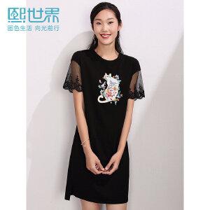 熙世界印花短袖中长款黑色连衣裙2019夏装新款短袖印花裙子LL024