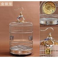 不锈钢鸟笼 画眉虎皮鹦鹉鹩哥八哥鸟用具金属圆形大号鸟笼子