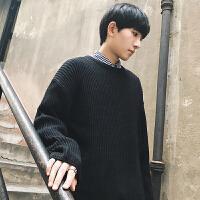 冬季青少年圆领毛衣男士韩版宽松学生潮流百搭个性毛衣男针织衫潮