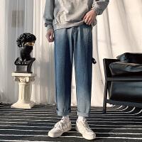 裤子男士春秋季韩版潮流宽松直筒阔腿长裤休闲百搭潮牌九分牛仔裤