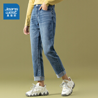 真维斯女装 秋季新款 9.5安弹力粗斜纹女友型牛仔裤