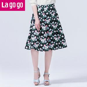 Lagogo/拉谷谷2016年春季新款高腰花色百褶半身裙