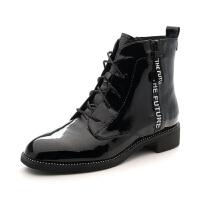 【大牌日3折】星期六(ST&SAT)冬季漆面牛皮革平底马丁靴短靴SS84116052 黑色