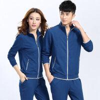 韩版棉长袖立领开衫情侣休闲运动服套装男女春秋季