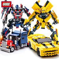 儿童擎天柱大黄蜂玩具模型积木男孩子变形机器人拼装