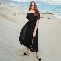 雪纺连衣裙仙女2018春夏装新款露肩黑色高腰长裙海边度假沙滩裙子1T000500