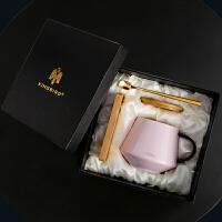 杯子陶瓷带盖带勺子办公室情侣马克杯一对简约水杯咖啡杯家用 粉紫(礼盒装) 木盖+木垫