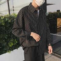 衬衫秋季港风白色条纹衬衫男长袖韩版潮流网红衬衣男