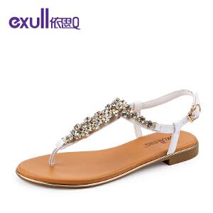 exull/依思Q新款凉鞋休闲简约水钻夹趾低跟女鞋-