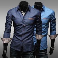 新款春季款 口袋贴皮 时尚休闲潮流韩版修身长袖牛仔衬衫男 男士