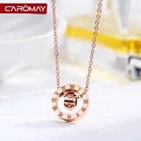 复古双环锁骨链女镀玫瑰金项链个性简约钛钢颈链饰品