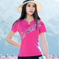 中国风上衣女 2018夏装新款 民族风女装刺绣短袖t恤女大码打底衫