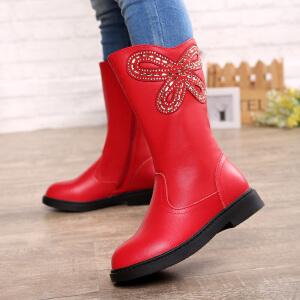 17cm~22.5cm巴布豆童鞋 女童靴子2016冬季新款女童短靴儿童马丁靴潮公主童靴