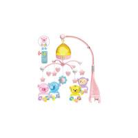 旋转0-1岁床铃音乐新生婴儿床头掉铃摇铃挂件宝宝3-6-12个月玩具 动物夜灯-浅粉-遥控-充电版