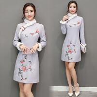 毛呢冬季连衣裙女加厚新款秋装长袖旗袍改良25-30岁冬天裙子