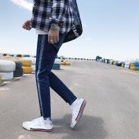 新款原创男士修身小脚裤韩版潮男牛仔裤拼接设计青少年时尚牛仔裤
