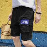 夏季港风破洞贴布短裤男士休闲裤学生宽松运动五分裤潮流