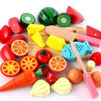 磁性切水果玩具儿童蔬菜切切乐宝宝男孩女孩过家家木制切菜套装