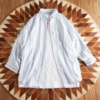 小清新半袖寸衣个性潮流衬衫潮男装条纹七分长袖衬衣