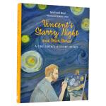 现货原版英文 Vincent's Starry Night 彩绘版梵高的星夜:给儿童的艺术史 梵高绘画画册 艺术书籍