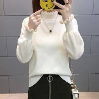 时尚半高领春装2018新款女短款针织打底衫毛衣女士韩版百搭上衣潮
