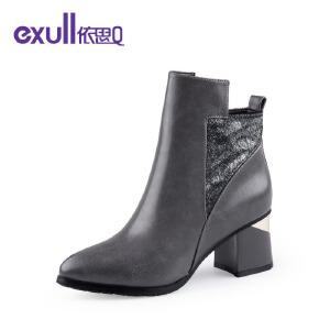 依思q冬季新款尖头舒适粗跟高跟短靴时尚拼接潮靴女