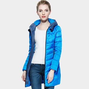雅鹿羽绒服女中长款 韩版修身时尚保暖拼接连帽外套冬装 YO30390