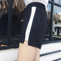 2017夏装新款韩范女装百搭拼色织带运动阔腿裤女短裤宽松休闲热裤