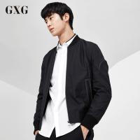 GXG夹克男装 秋季男士时尚休闲潮流气质青年黑色棒球服夹克外套