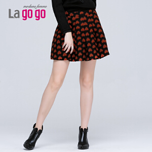 lagogo拉谷谷冬季新款高腰褶皱百搭印花半裙