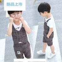 儿童礼服夏男童演出马甲假两件套装宝宝夏季主持服英伦花童格子小西装潮