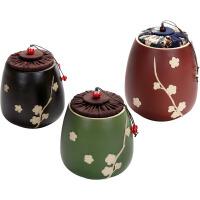 陶茶叶罐创意梅花布塞普洱茶仓功夫茶具陶瓷密封醒茶罐