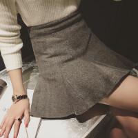 慈姑2017早春新款韩版女装修身显瘦鱼尾下摆毛呢包臀裙学生半身短裙 均码