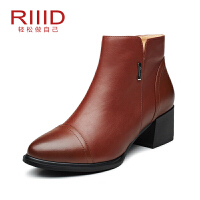 RIIID女士短靴 中跟短筒靴侧拉链休闲