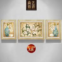 欧式装饰画客厅简约现代三联画组合沙发背景墙餐厅挂画美式发财鹿SN7494 70*90*2/90*120*1 整套价格