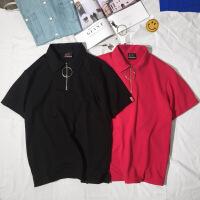 夏季男翻领短袖T恤polo衫 潮韩版女装2017新款时尚秋季情侣装polo