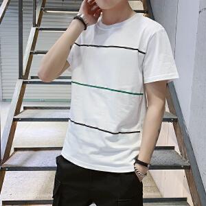 2019新款男士学生短袖t恤男潮牌男士夏季打底衫纯棉圆领半袖体恤