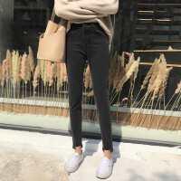 韩版chic春季高腰显瘦牛仔裤女学生小脚裤黑色铅笔裤休闲裤九分裤