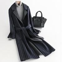 毛呢外套女中长款新款零羊绒赫本风衣条纹秋冬季双面呢子大衣