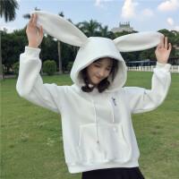 日系少女卫衣韩版秋冬款可爱粉色兔耳朵加绒加厚外套学生上衣