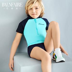 范德安新款儿童泳衣男童平角可爱防晒中大童分体专业游泳衣